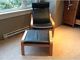 Black Leather POÄNG Armchair with Footstool