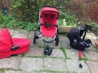 Quinny Buzz Red Carrycot Pushchair and Maxi Cosi Car Seat Travel System