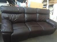 DARK BROWN LEATHER HIGH QUALITY 3 SEAT COUCH