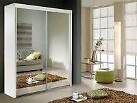 White two door two mirror wardrobe