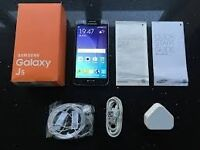 Samsung J5 black brand new condition box with original Accessories and Shock proof Cover Free