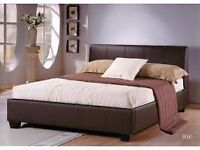 New 'Nevada'leather bed Black - Brown - white 4ft - 4ft6 -5ft - 6ft