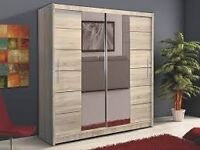 **14-DAY MONEY BACK GUARANTEE!**- Hamburg Sliding Door Wardrobe- BRAND NEW - RRP£399!