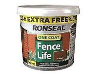 ronseal one coat fence life (tudor oak, dark oak)