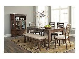 SOLID WOOD TABLE WITH DRAWERS DINING SET  (ASH2305)