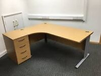 Quality Beech Curved Office Home Work Station & Desk High Lockable 4 Draw Matching Pedestal