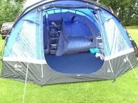hi gear voyager 6 tent and camping equipment portable toilet,electric hook up ,picnic table ,stand.