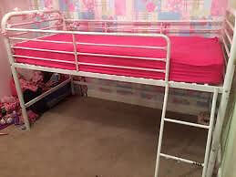 Gorgeous Next white and pink midsleeper bed / cabin bed