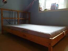IKEA double bedframe + mattress. $220 firm. FREE DELIVERY