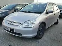 HONDA CIVIC 2002 1.4 BREAKING FOR SPARES TEL 07814971951 HAVE FEW IN STOCK PLEASE CALL