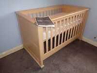 Mamas and papas nursery furniture: cot bed, wardrobe, dresser and storage chest