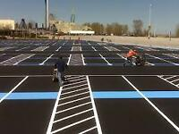 ASPHALT PARKING LOT LINE PAINTING / STRIPING - CRACK REPAIR