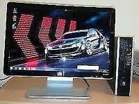 SSD Fast HP Elite Ultra Small Home & Business PC Desktop Computer & HP Pavillion 20inch