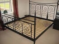 Ikea double bed black metal frame French style BARGAIN