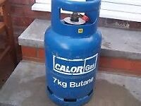 £ 20 - 1/4 full Calor Gas 7kg Butane gas bottle/cylinder with REGULATOR ; BBQ , Camping , Caravan