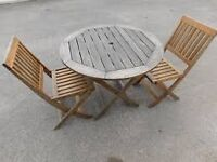 GARDEN FURNITURE WOODEN TABLE FOLD UP CHAIRS ALL SOLD SEPARATELY OR TOGETHER
