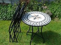 Mosaic bistro table and 2 folding chairs