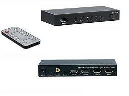 HDMI Switch 4x1 With RCA Digital Coaxial & Optical Toslink Audio