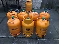 7. 12kg. Yellow Calor gas Cylinders bottles. (Empty)