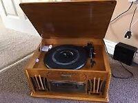 retro hifi record, tape, radio and cd player