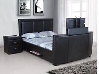 Brown leather tv bed kingsize