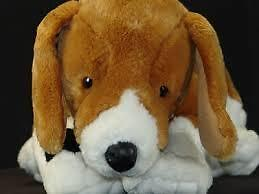 Build A Bear Puppy Dog. Brown Ears on White body. Stuffed Animal