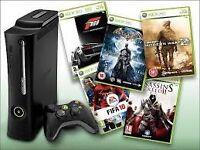 xbox 360 black plus 6 games