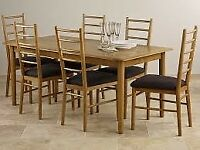Oak Dining Table 6 chairs Charcoal Fabric Osaka Rustic Solid Oak 6ft X 3ft Table