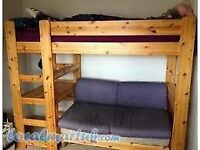 Stompa high sleeper with desk and pullout bed