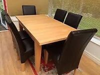 Ikea Pine Dining Table & 6 Chairs