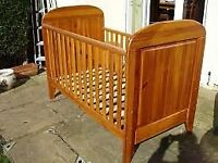 John Lewis Solid Pine Drop Side Cot Bed & Mattress in Excellent Condition