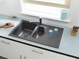 Brand New In Box Astracast Dart Graphite Grey Granite Composite 1.5 Bowl Drainer Inset Sink