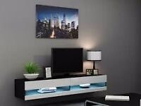VIGO WHITE AND BLACK GLOSS FLOATING TV UNIT WITH LED LIGHTS NEW 180CM
