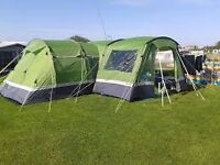 HI GEAR KALAHARI ELITE 8 FAMILY TENT BUNDLE WITH PORCH, CARPET AND FOOTPRINT ONLY USED TWICE