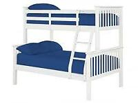 Brand New Furniture-Trio Wooden Bunk Bed Frame in Oak and White Color Options-