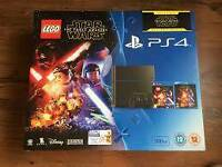 PLAYSTATION 4 500gb BRAND NEW SEALED INC: STAR WARS LOGO GAME & STAR WARS BLURRAY