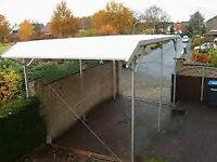 Professional motorhome/caravan shelter – aluminium frame & heavy duty PVC roof