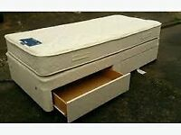 SINGLE DIVAN BED IN LOVELY CONDITION WITH GOOD QUALITY MATTRESS AND PADDED HEADBOARD & DRAWER BELOW