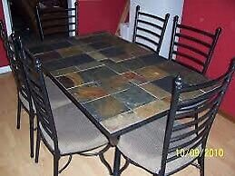 Slate tile dining room table and bakers rack