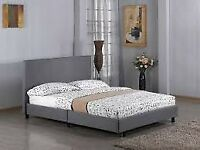 🌈Sale On Furniture🌈- NEW DOUBLE SIZE GREY FUSION FABRIC BED FRAME W OPT MATTRESS-ORDER NOW