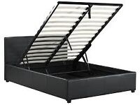 Black Faux Leather End Opening Ottoman Storage Bed 5 FT King Size