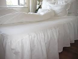 jupe de lit simple - twin bedskirt - cotton blanc
