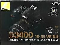 Nikon D3400 18-55 VR Kit + Tamron 70-300mm Lens with Jessops receipt & warranty