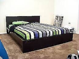 Nice chocolate color ikea wooden queen size bed frame + used matt