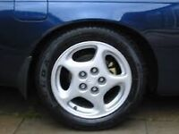 "Genuine Japanese 16"" turbine alloys 300zx lexus Fto mr2 Gto 5x114 with stretched Continental tyres"