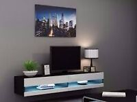igo Designer High Gloss Floating Wall Units - TV stand with LED Lights