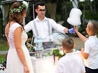 Wedding rental cotton candy spinning