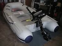2.9M MERCURY INFLATABLE RIB (COST £995) WITH MERCURY 4HP 2 STROKE OUTBOARD (COST £825) BIG BARGAIN!
