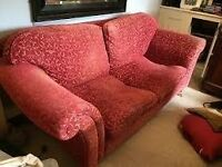 Laura Ashley Sofa - deep red - bargain with throw and cushions