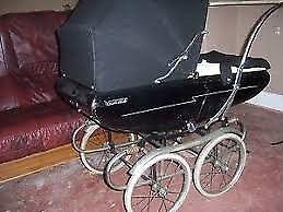 vintage pedigree pram in shinning Royal blue coach built model